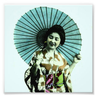 Vintage Geisha and Her Parasol Old Japan Photograph
