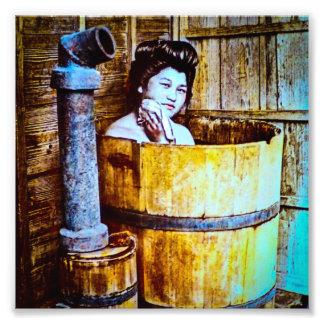 Vintage Geisha Bathing in Wooden Tub in Old Japan Photo Print
