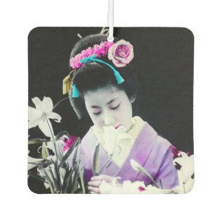Vintage Geisha Sniffing a White Lily 白百合 Car Air Freshener