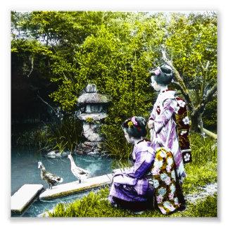 Vintage Geisha Watching Ducks in Park Old Japan Photographic Print