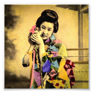 Vintage Geisha with a Cute Kitten Old Japan Photograph