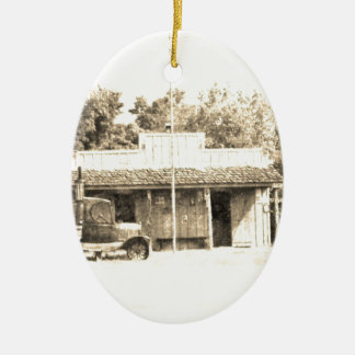 Vintage General Store with Antique Auto Ceramic Oval Decoration