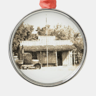 Vintage General Store with Antique Auto Silver-Colored Round Decoration