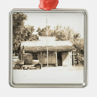 Vintage General Store with Antique Auto Silver-Colored Square Decoration