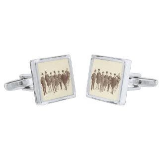 Vintage Gentlemen 1800s Men's Fashion Brown Beige Silver Finish Cuff Links