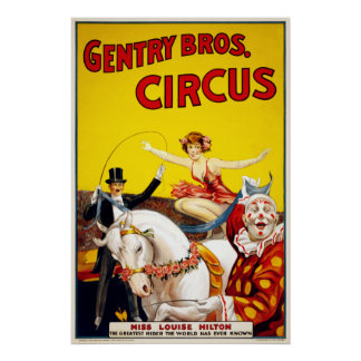 Vintage Gentry Bros. Horse and Clown Circus Poster