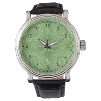 Vintage Geometric Circles in Bright Green Watch
