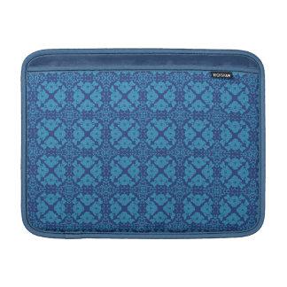 Vintage Geometric Floral Blue on Blue MacBook Sleeve