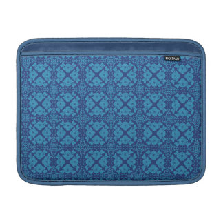 Vintage Geometric Floral Blue on Blue MacBook Sleeves