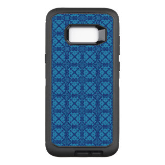 Vintage Geometric Floral Blue on Blue OtterBox Defender Samsung Galaxy S8+ Case