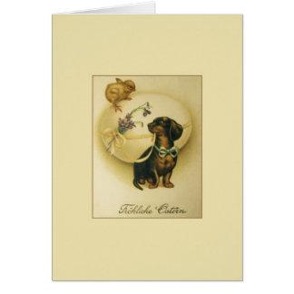 Vintage German Dachshund Easter Card