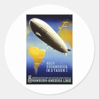 Vintage German Travel Poster Classic Round Sticker