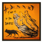 Vintage Ghosts, Crows, Bats, Cat Halloween Party 13 Cm X 13 Cm Square Invitation Card