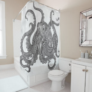 Vintage Giant Squid Dappled YOU CHANGE COLOR Shower Curtain