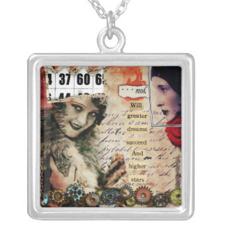 vintage girl altered art necklace