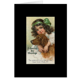 Vintage Girl and Dog St. Patrick's Day Card