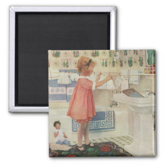 Vintage Girl, Child Doing Laundry Hanging Clothes Magnet