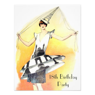 Vintage Girl in Eiffel Tower Costume 18th Birthday Announcements