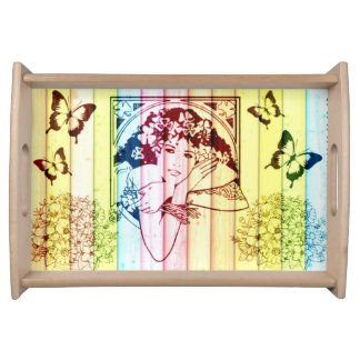 Vintage Girl in Window - Wood Effect Serving Tray