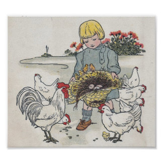 Vintage Girl With Chickens, E is an Egg Poster