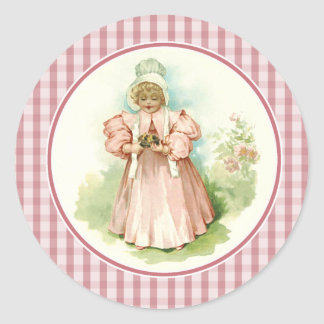 Vintage Girl with Chicks. Easter Gift Stickers