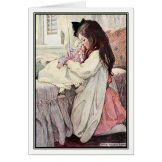 Vintage Girl With Doll by Jessie Willcox Smith Card