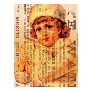 Vintage Girl With Dove and Ads Postcard