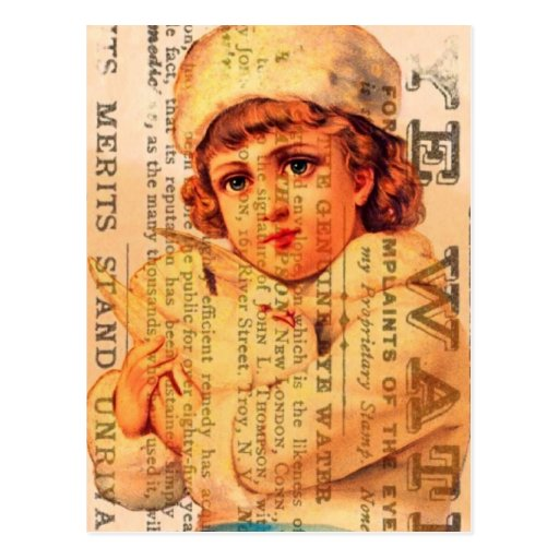Vintage Girl With Dove and Ads Post Cards