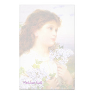 Vintage Girl with Lilacs Personalized Stationery