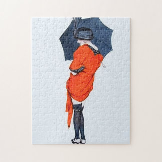 Vintage Girl With Umbrella Puzzle