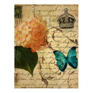 vintage girly hydrangea butterfly floral postcard