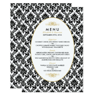 Vintage Gold, Black & White Damask Wedding Menu 11 Cm X 16 Cm Invitation Card