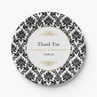 Vintage Gold, Black & White Damask Wedding Paper Plate