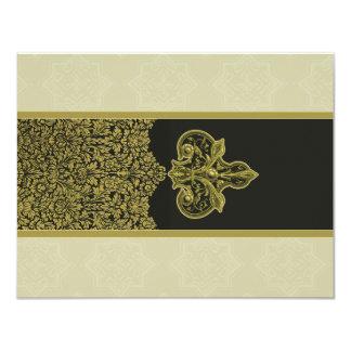 Vintage Gold Indian Floral Ornament Wedding RSVP 11 Cm X 14 Cm Invitation Card