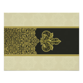 Vintage Gold Indian Floral Ornament Wedding RSVP Personalized Invitations
