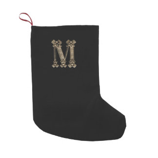 Vintage Gold Letter M Initial or Monogram on Black Small Christmas Stocking