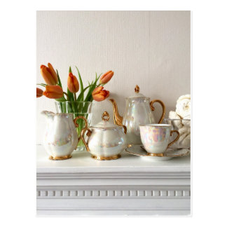Vintage Gold Lustre Afternoon Tea Postcard