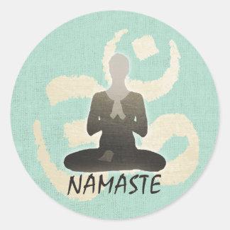 Vintage Gold Om Sign Green Linen Namaste Yoga Classic Round Sticker