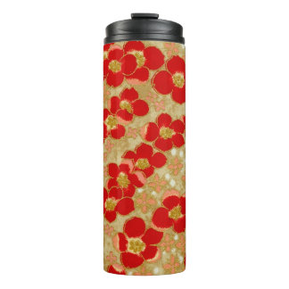 Vintage Gold Red Japanese Origami Floral Pattern Thermal Tumbler