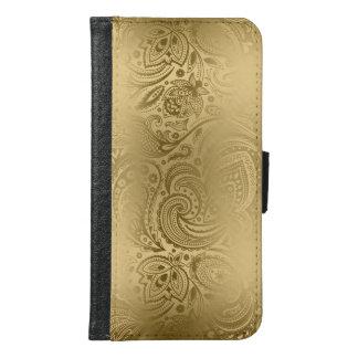 Vintage Gold Tones Paisley Pattern Samsung Galaxy S6 Wallet Case