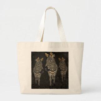 Vintage Gold & White Zebras Bag