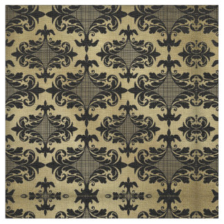Vintage Gold with Black Damask Fabric