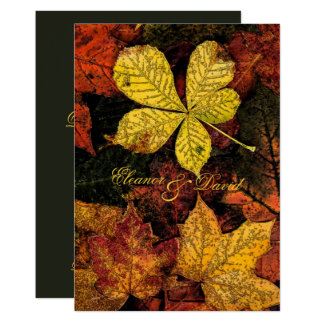 Vintage golden autumn leaves wedding card