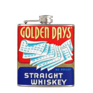 Vintage Golden Days Retirement Whiskey Label Flask