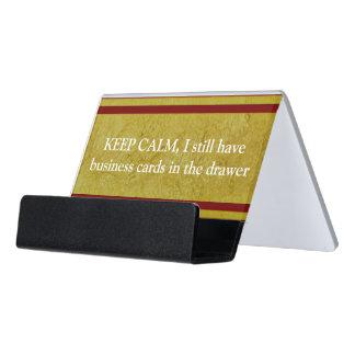 Vintage Golden Stripes - dark red + your ideas Desk Business Card Holder