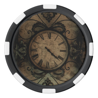 Vintage Gothic Antique Wall Clock Steampunk Poker Chips