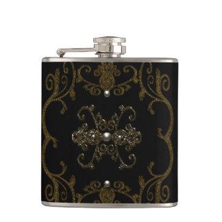 Vintage Gothic Elegance Jewels Hip Flask
