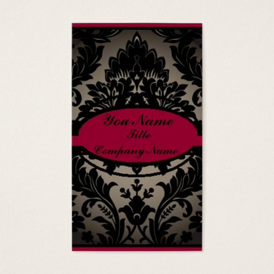 vintage gothic fashion burgundy black damask business card