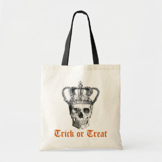 Vintage Gothic Skull with Crown Trick or Treat Bag