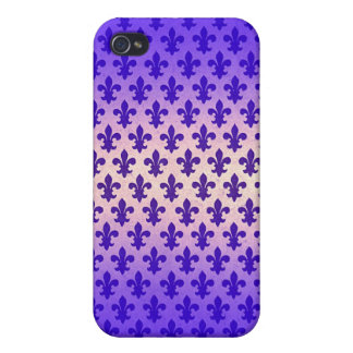 Vintage gradient blue fleur de lis pattern cover for iPhone 4